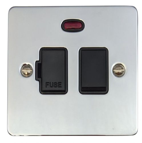G&H FC27B Flat Plate Polished Chrome 1 Gang Fused Spur 13A Switched & Neon